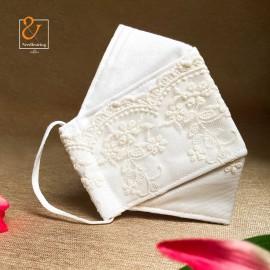 ماسک پارچه ای سفید گیپور ۳بعدی سه لایه قابل شستشو