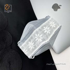 ماسک سه بعدی سه لایه قابل شستشو پارچه ای طوسی تور دار