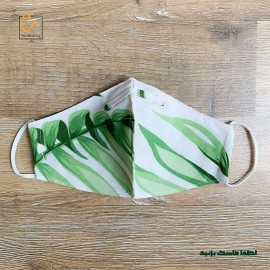 ماسک ۳لایه نخی قابل شستشو برگ سبز